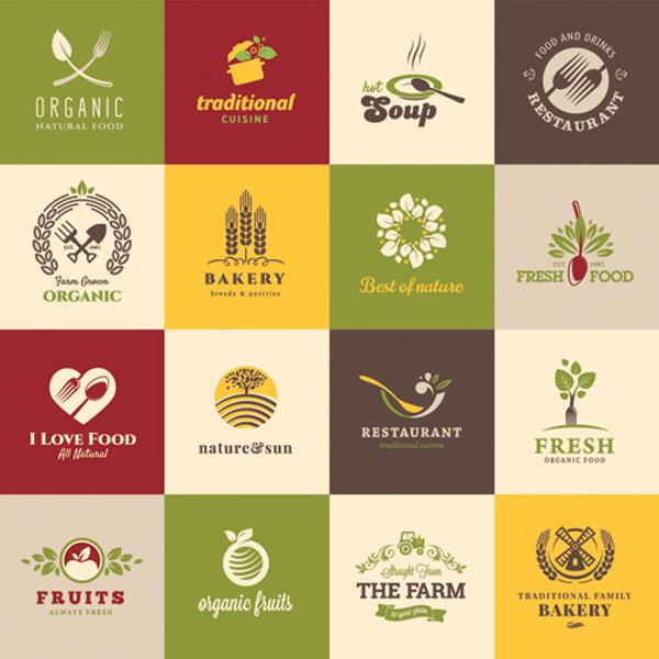Organic Natural Restaurant Food Logos Set Welovesolo