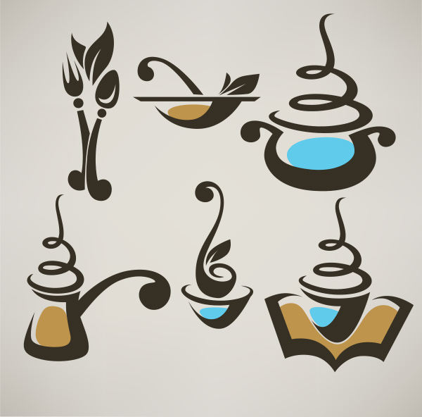 6 abstract coffee food vector logos logotypes welovesolo
