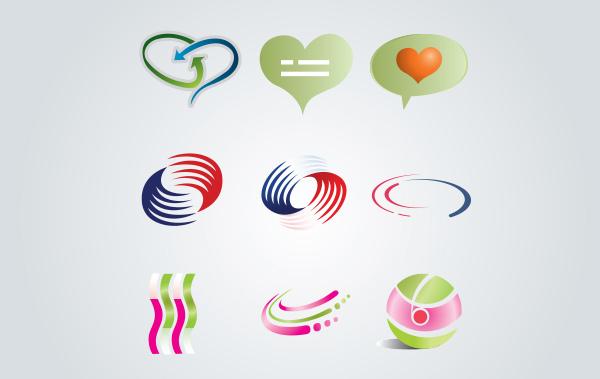 vector symbols swirls social orb hearts free abstract