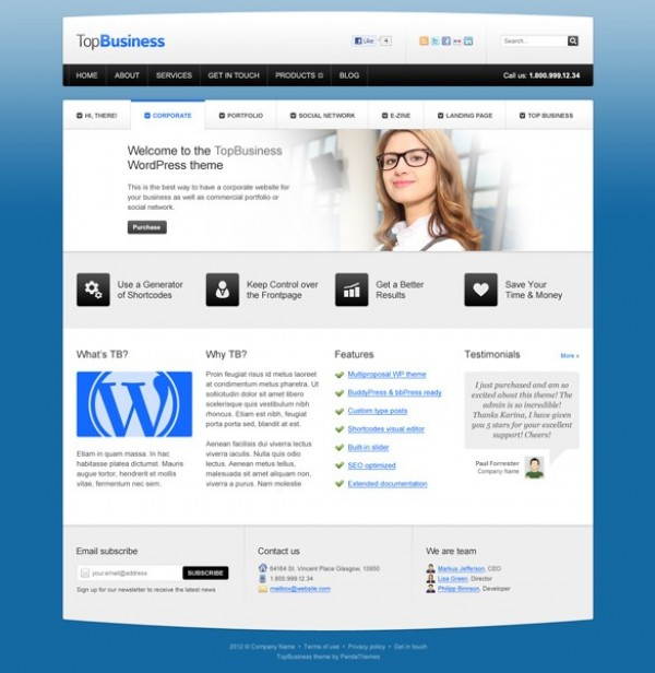 Top business wp website templates psd welovesolo wp wordpress website webpage web unique ui elements ui top business theme template stylish quality psd wajeb Gallery