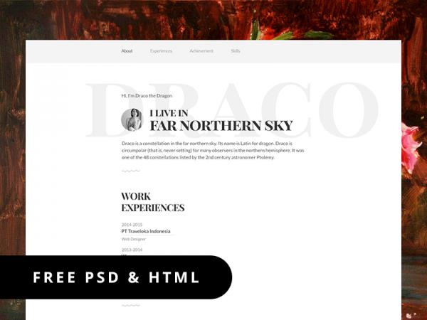 template resume responsive psd html