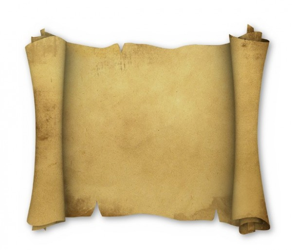 Unrolled ancient leather or paper scroll with space for text and ...