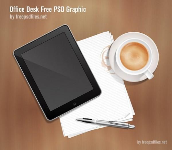 Office Desk IPad Notepaper Pen Graphic PSD