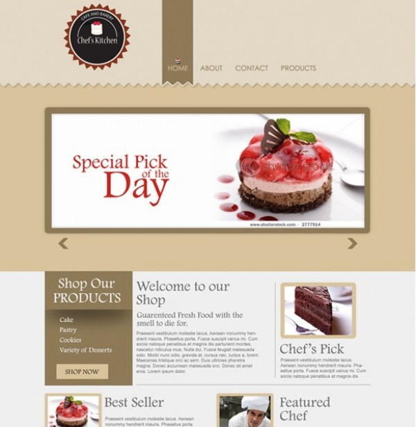 Delicious Bakery Website PSD Template - WeLoveSoLo