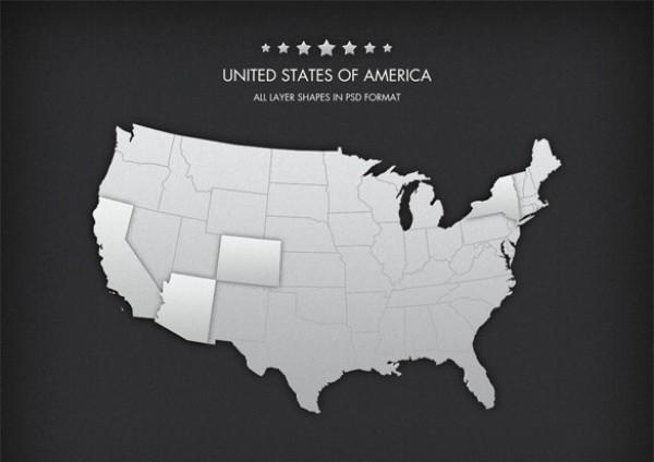 perfect vector usa map individual states psd