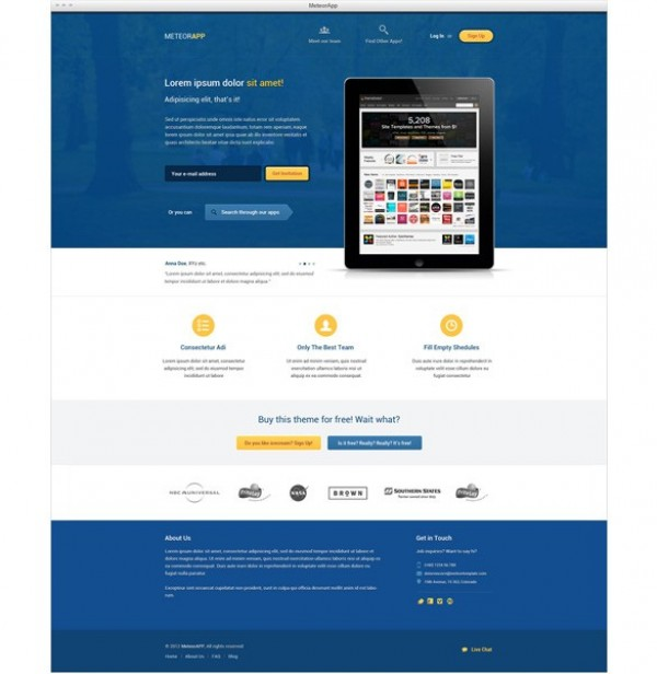 MeteorApp Product/Services Landing Page Template PSD - WeLoveSoLo