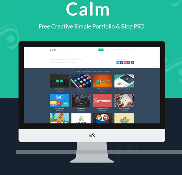 website webpage ui elements ui portfolio free download free flat filterable colorful calm blog