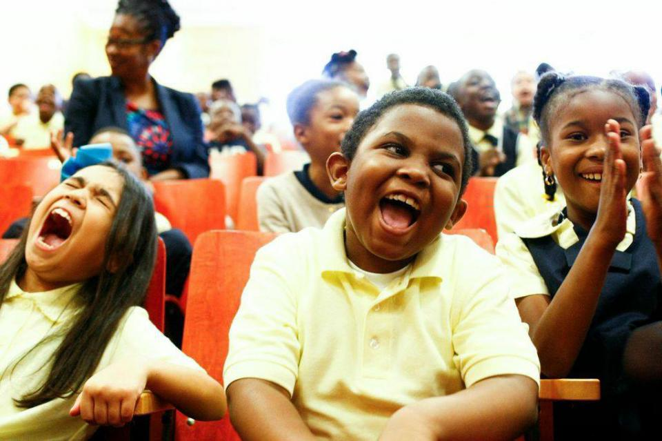 smiling school laughing kids classmates clapping children