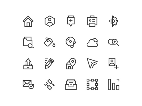 vector set psd outline line icons