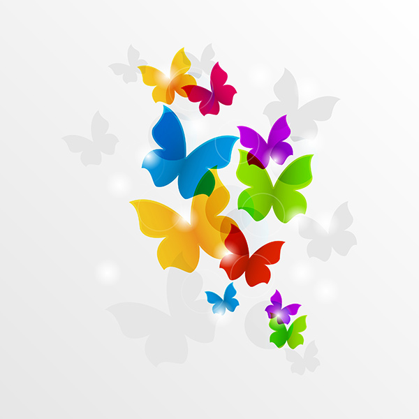 Colorful Flying Butterflies Abstract Background Welovesolo