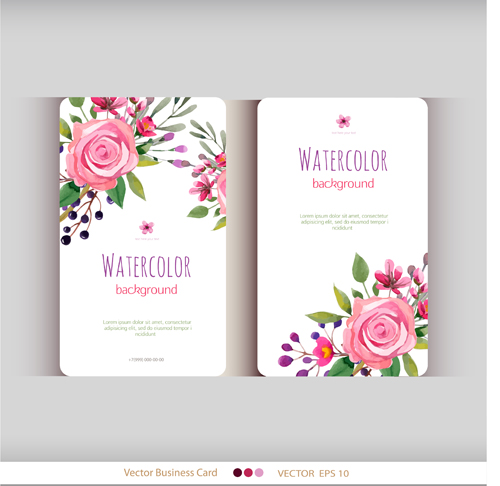 Beautiful watercolor flower business cards vector set 05 welovesolo reheart Images