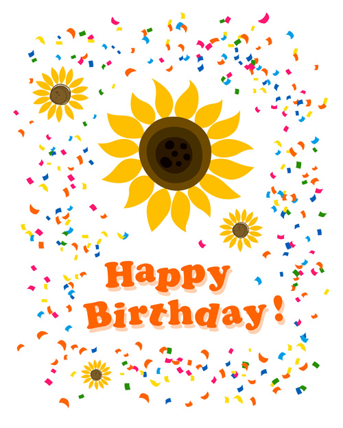Cute Flower With Happy Birthday Greeting Cards Vector 04 Welovesolo