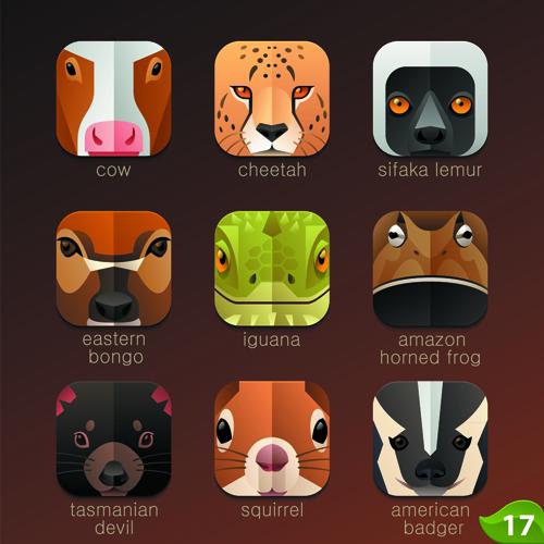 icons funny animal