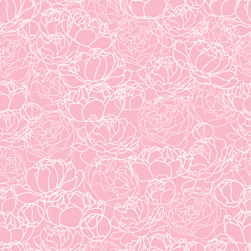 seamless peonies pattern Hand drawing drawing