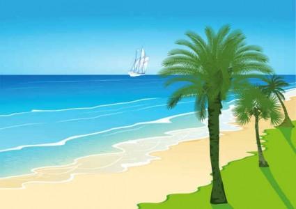 seaside scenery cartoon