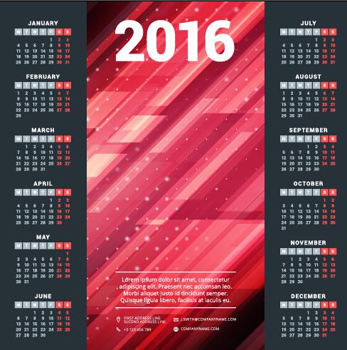2016 company calendar creative design vector 02 welovesolo