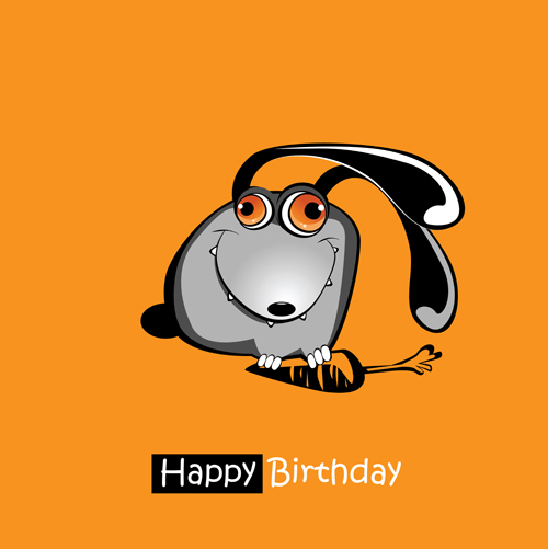 Funny Cartoon Character With Birthday Cards Set Vector 10