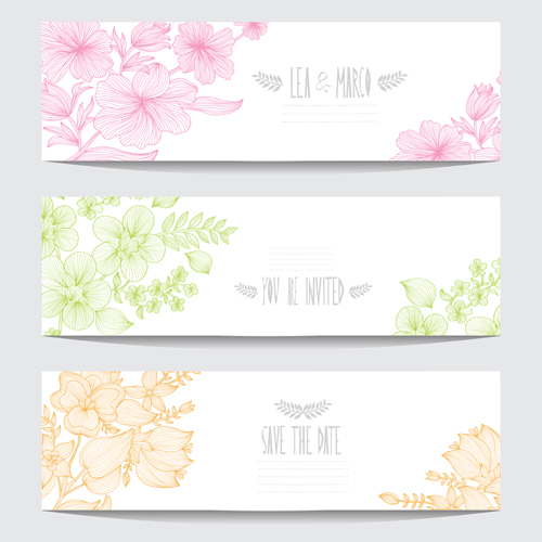 hand drawn floral banners
