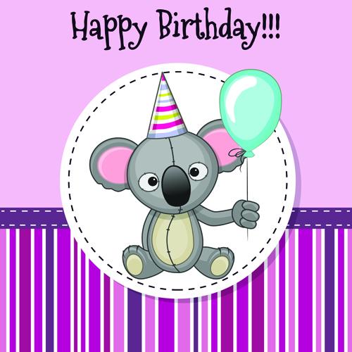 Happy Birthday Baby Greeting Cards Vector 06 Welovesolo