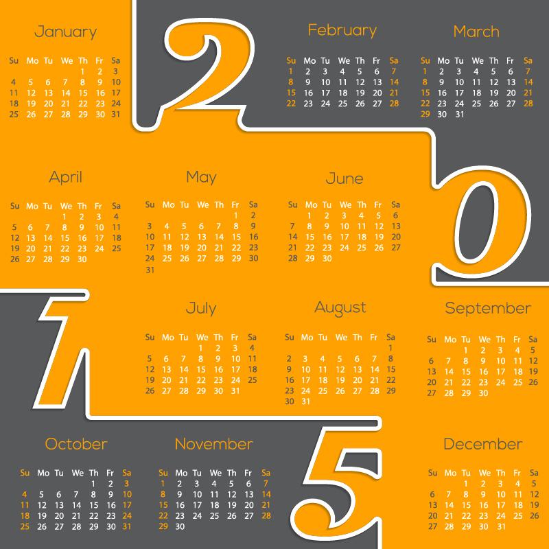 Business Calendar Design : Orange balloon deflated welovesolo