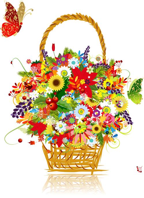 Flower Baskets Vector : School supplies vector stickers set welovesolo