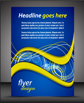 Modern style blue flyer cover vector 05 - WeLoveSoLo