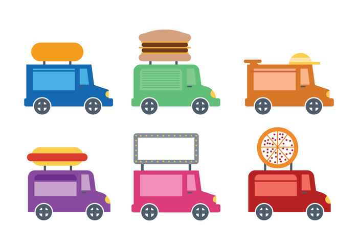 Cute Food Truck Icon Vectro 140108