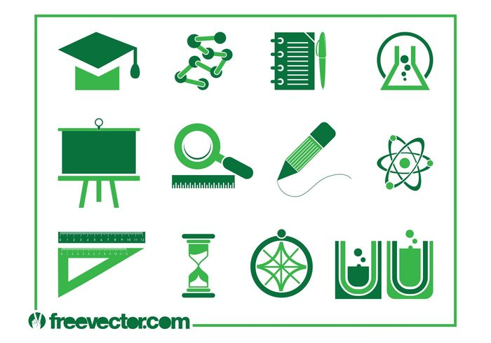time symbols science school Rulers research pencil logos learn icons geography Flasks education compass chemistry Academic cap