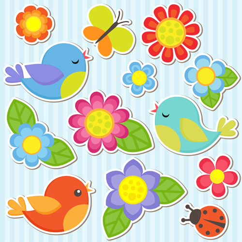 Bird and butterfly and ladybug with flower sticker vector welovesolo stopboris Image collections