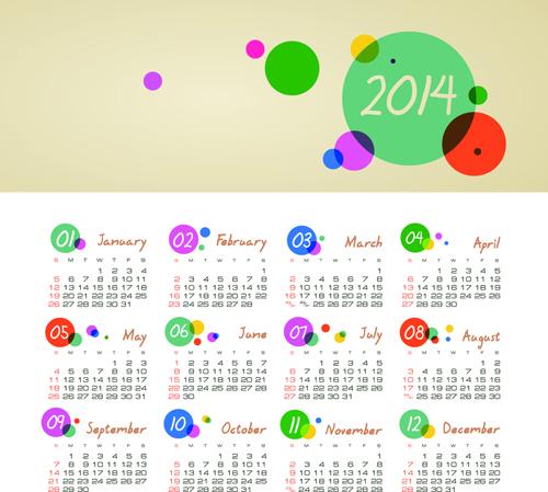 set of calendars 2014 creative design vector 07 welovesolo