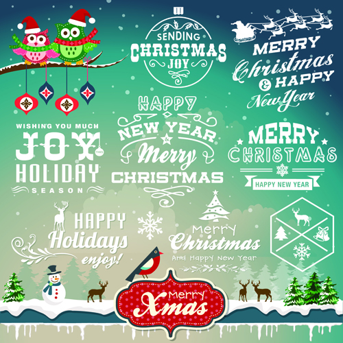 christmas logos and decorations vector welovesolo - Christmas Logos