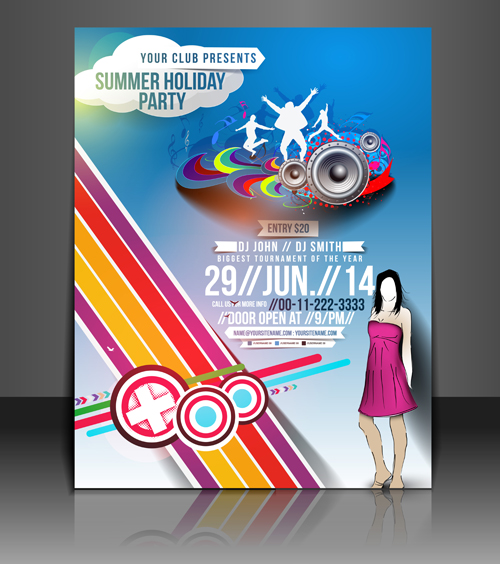 abstract summer party flyers design vector 02 welovesolo