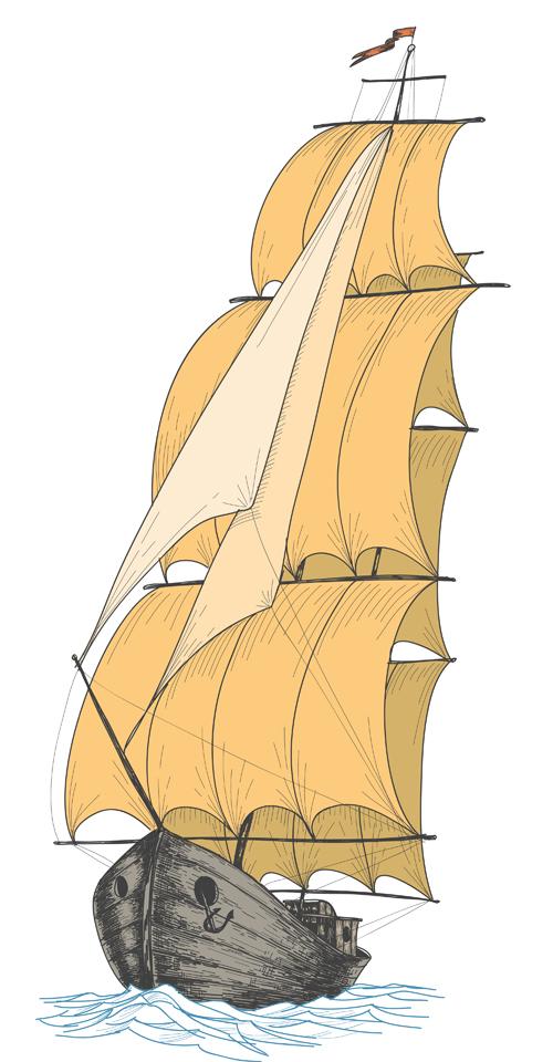 vintage sailboat hand-draw hand drawn aligncenter