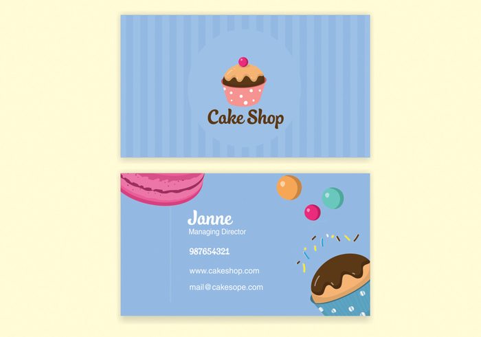 Blue bake shop business card vector welovesolo template print layout information design card business cards business card template business blank bakery business card reheart Gallery