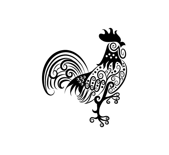 rooster pattern hand drawn decoration