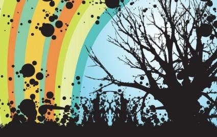 tree swirls sillhouette rainbow grunge floral abstract
