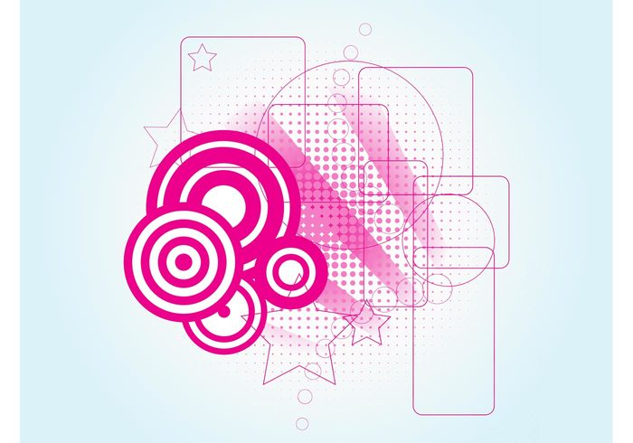 target symbols Stock art stars square shapes rectangle pink pattern halftone graphics element dots clip art circle