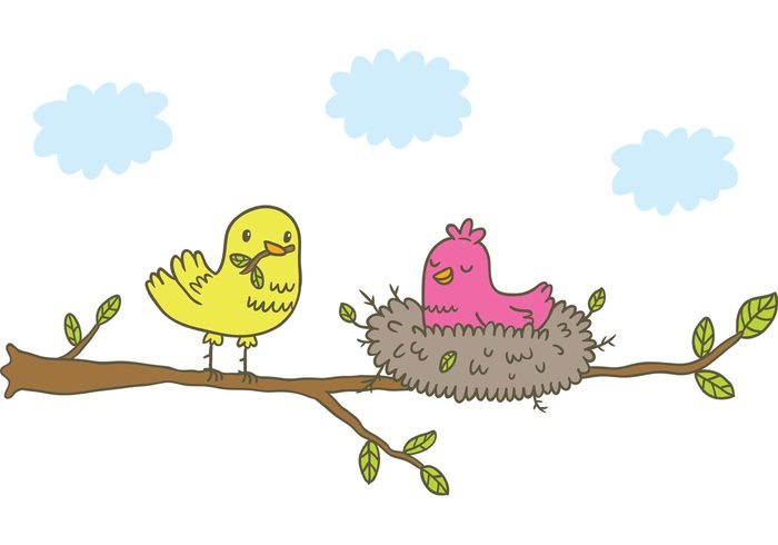 tree summer nest nature leaf hand drawn family cute cartoon Canary birds bird in tree bird in nest bird Baby bird