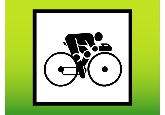 transport symbol stylized square sport logo icon Hobby cycling biker bike bicycle