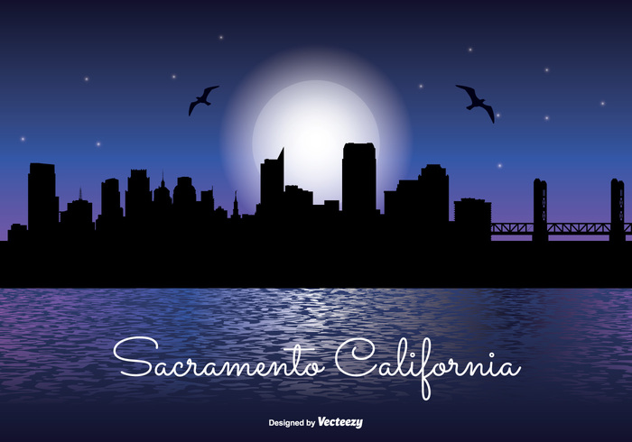 waterfront water vacation united states travel tower tall stars skyscraper skyline sky silhouette shoreline shore scraper scaramento california sacramento skyline sacramento reflection office night time night moon modern landmark lake high front downtown Destination day dark corporate coast cityscape city skyline city silhouette city business building blue beautiful background architecture america