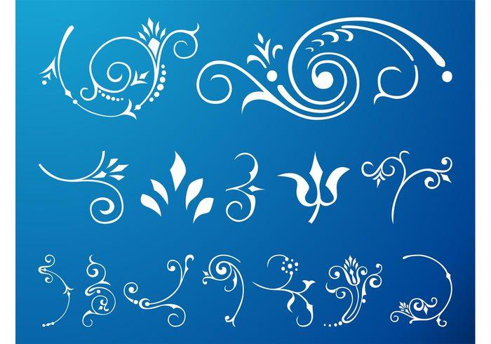 swirls Stems spring spirals scrolls plants ornaments leaves leaf flowers flower floral decorative blossoms