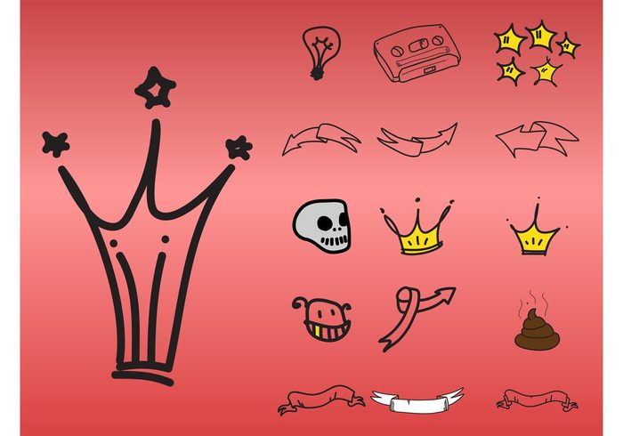 vector icons stars Smile skull sketchy sketches ribbons Poop Poo head face doodles Design footage crown arrows