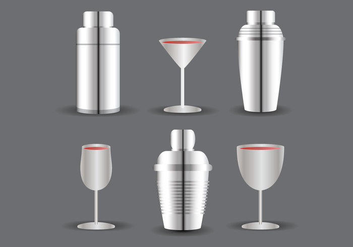 Vodka vector syle stell silver shaker party mix martini margarita liquoe hour gradient glass Gin drink cocktail shaker beverage bartender bar alcohol