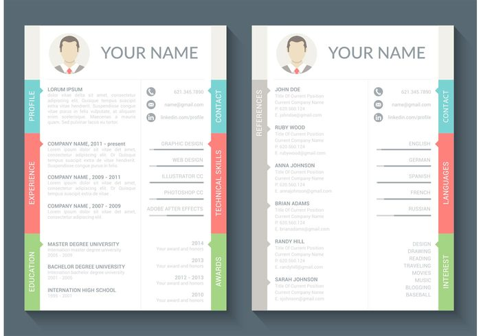 Free curriculum vitae vector template 114877 welovesolo yelopaper Images