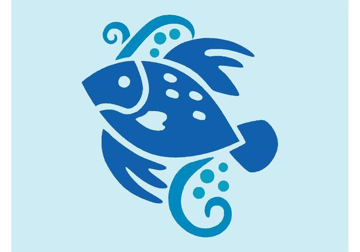 waves tail swirls sea ocean nature fish vector Fins fauna dots bubbles Aquatic animal