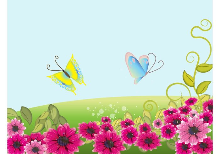 swirls swirling sunny Stems spring plants petals nature leaves green grass floral fields butterflies bubbles beautiful