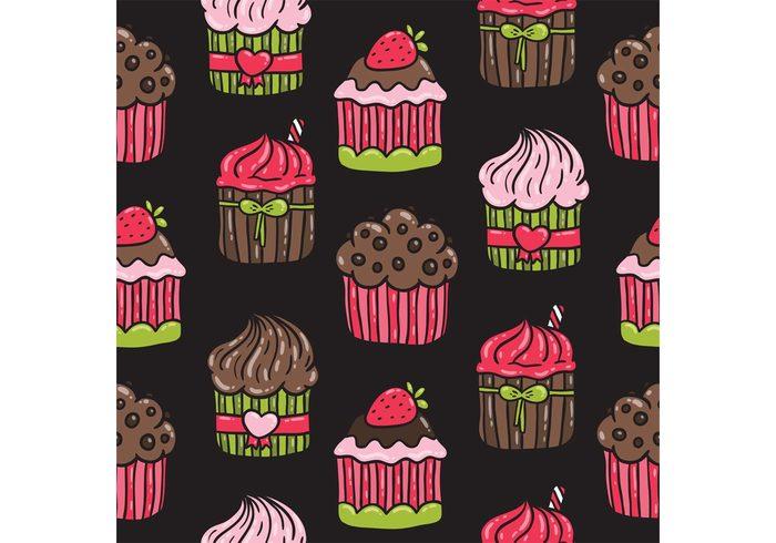 sweet seamless pattern pastry food pattern food dessert pattern dessert cute food cupcakes cupcake pattern cupcake chocolate cupcake chocolate cake bakery