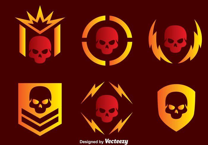 symbol strong skull silhouettes skull silhouette skull silhouette shield shape power military skull military medal logo Human emble circle body