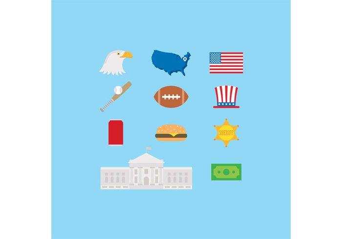 USA united states of america united states United travel tourism symbol states state star sign sights sheriff set pictogram money made in usa isolated icon hat hamburger football flag eagle dollar bill dollar dog culture cruise cowboy capitol cap bull building bird bat baseball ball badge american america