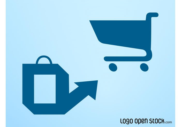 trade store shopping bag shopping shop mall logos icons commerce cell cart buy
